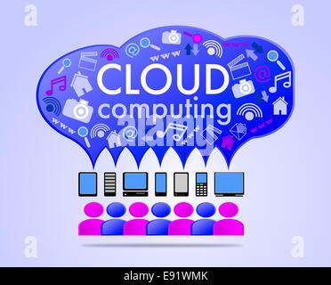 Cloud computing concept illustration - Stock Photo