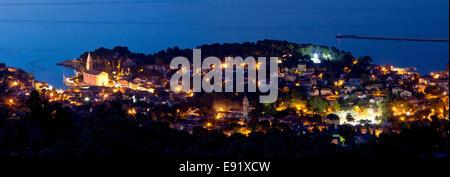 Adriatic town of Veli Losinj panoramic view - Stock Photo