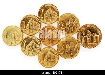 Serbian dinar coins - Stock Photo