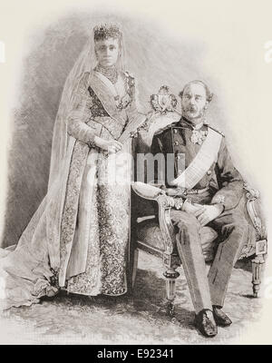 Christian IX, 1818 – 1906.  King of Denmark with his wife Louise of Hesse-Kassel, 1817 – 1898.