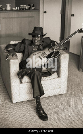 NEW ORLEANS, LA – MAY 1: Blues musician John Lee Hooker plays at the New Orleans Jazz Festival in New Orleans, Louisiana - Stock Photo