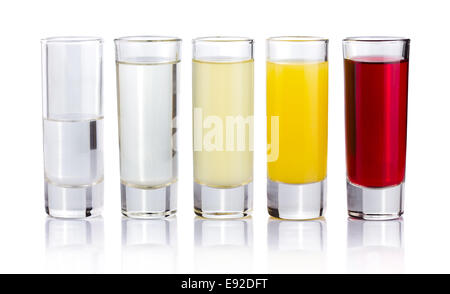 Five shot drink cocktails isolated on white - Stock Photo