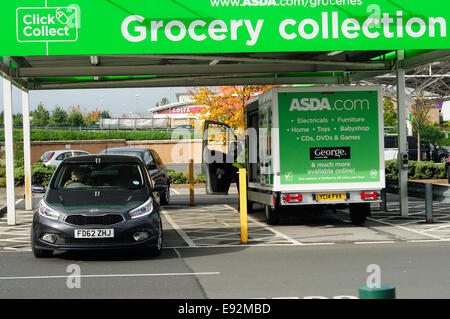 asda supermarket 39 click and collect 39 grocery point mansfield uk stock photo royalty free. Black Bedroom Furniture Sets. Home Design Ideas