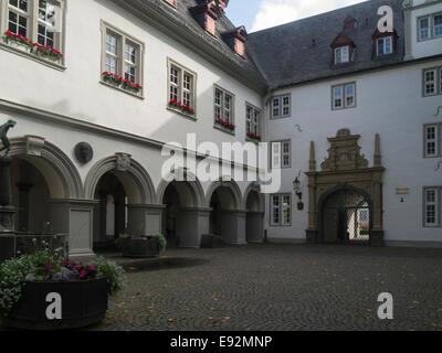 Koblenz Rathaus Town Hall Germany EU Jesuiten Platz an old historic city Rhine Gorge UNESCO World Heritage Site - Stock Photo