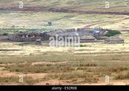 A small Maasai village between Ngorongoro Crater and Serengeti Plains, Tanzania. - Stock Photo