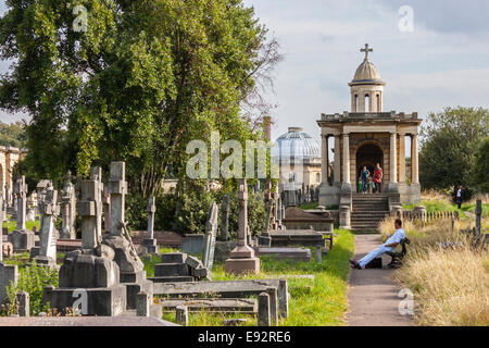 Colonnade and Chapel, Brompton Cemetery, London - Stock Photo