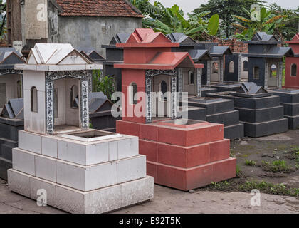 Vietnam Red River Delta: Display at shop of tombs for sale. - Stock Photo