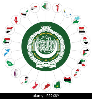 Flags of the Arab League member states overlaid on outline map - Stock Photo