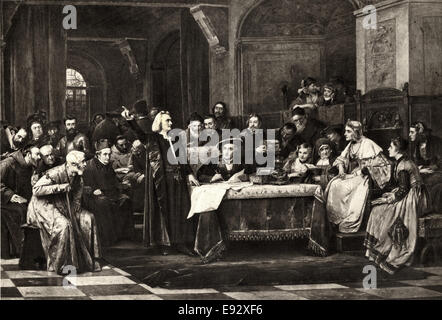 Christopher Columbus Appearing Before Queen Isabella and the Spanish Court, from a Painting by V. Brozik, 1884 - Stock Photo