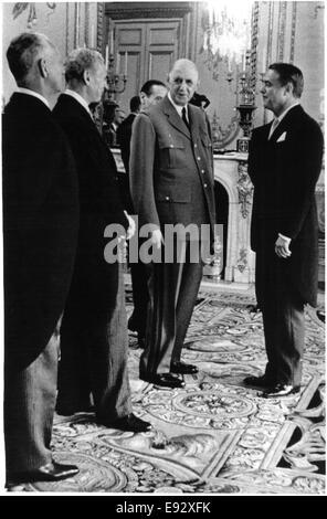 French President Charles De Gaulle Facing Sargent Shriver, U.S. Ambassador to France, during Reception, Paris, France, - Stock Photo
