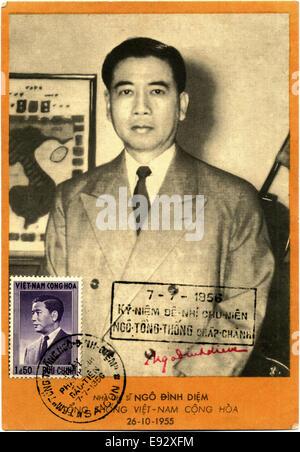 Ngo Dinh Diem (1901-1963), First President of South Vietnam, Portrait, Postcard, circa 1956 - Stock Photo