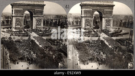 WWI Victory Day Celebration,  Arch de Triumph, Avenue des Champs-Eiysees, Paris, France, Stereo Card, July 14 1919 - Stock Photo