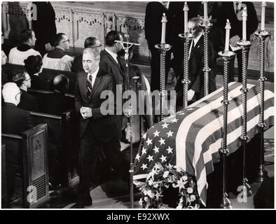 Senator Eugene McCarthy Passing Casket of Robert F. Kennedy after Receiving Communion, St. Patrick's Cathedral, - Stock Photo