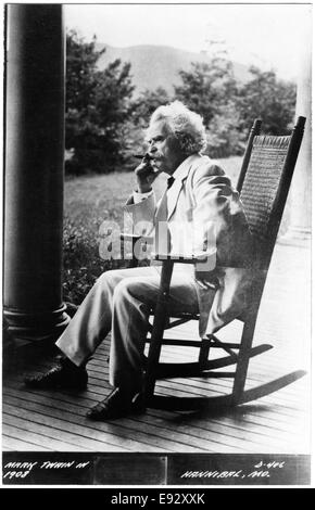 Samuel Langhorne Clemens, or better known as Mark Twain (1835-1910), American Writer and Humorist, Portrait in Rocking - Stock Photo