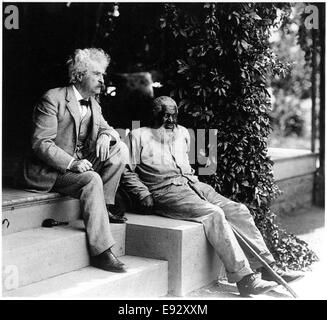 Mark Twain (Samuel Langhorne Clemens, 1835-1910), with John Lewis Sitting on Porch Steps, Elmira, New York, USA, - Stock Photo