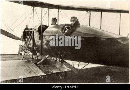 Lieutenant Ferdinand von Hiddessen and Unidentified Pilot in Airplane, Dropped 1st Bombs and Propaganda Leaflets - Stock Photo