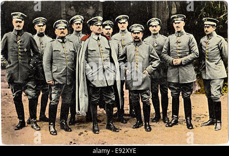 German General Alexander von Kluck (center) and his Staff, WWI, Portrait, Postcard, circa 1914 - Stock Photo