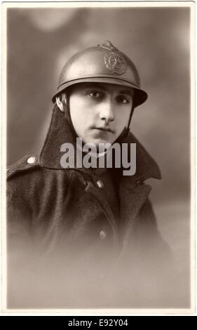 French Soldier, World War I, Portrait, circa 1914 - Stock Photo