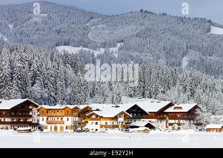 Hotels near a ski piste in Flachau in the European Alps. - Stock Photo