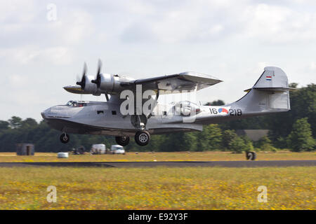 Consolidated PBY Catalina in Dutch Navy colors take off. - Stock Photo