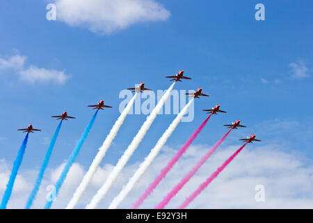 RAF Red Arrows performing at the Dutch Air Force Open House on June 21, 2014 in Gilze-Rijen airbase - Stock Photo