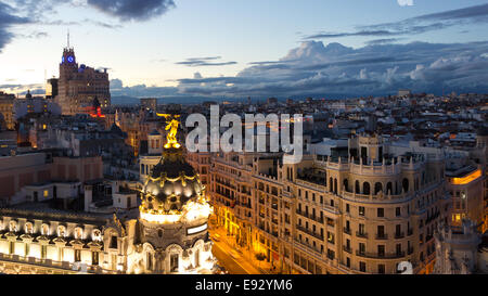 Panoramic aerial view of Gran Via, main shopping street in Madrid, Spain. - Stock Photo