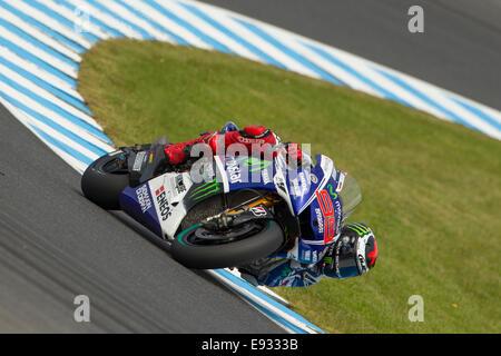 Phillip Island, Victoria, Australia. Saturday, 18 October, 2014. Movistar Yamaha MotoGP Team rider Jorge Lorenzo - Stock Photo