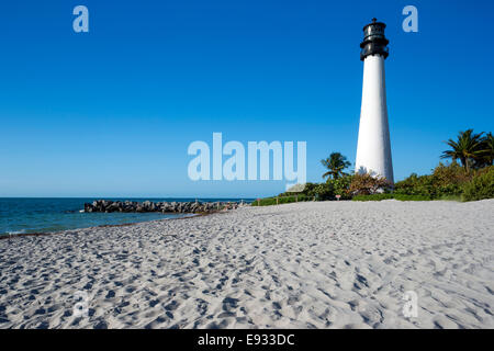 SAND BEACH LIGHTHOUSE CAPE FLORIDA STATE PARK COASTLINE BISCAYNE BAY MIAMI FLORIDA USA - Stock Photo