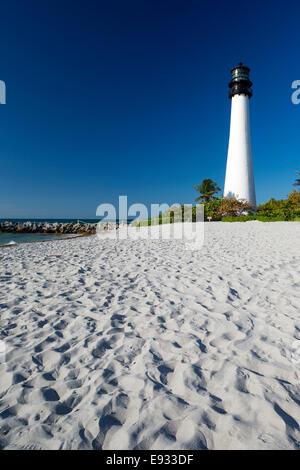 SAND BEACH LIGHTHOUSE CAPE FLORIDA STATE PARK COASTLINE BISCAYNE BAY MIAMI FLORIDA USA - Stock Photo