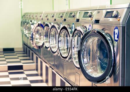 Laundromat, Paris, France - Stock Photo