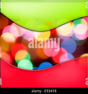 Colorful circles of light abstract background with green and red borders - Stock Photo