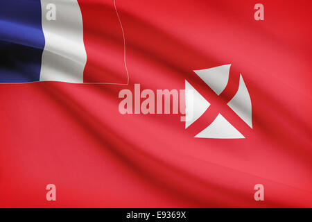Flag blowing in the wind series - Wallis and Futuna - Stock Photo
