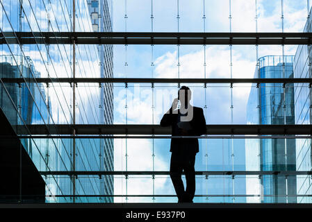 Silhouette of businessman - Stock Photo