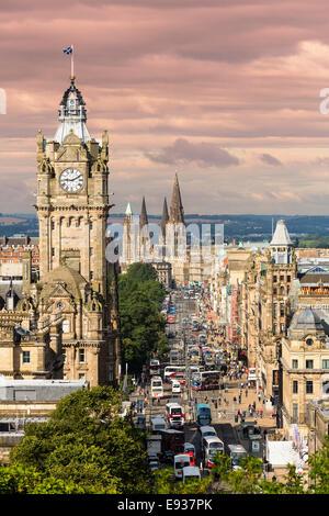 Princes Street in Edinburgh in Scotland - Stock Photo