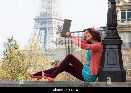 Portrait of woman in Paris - Stock Photo