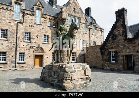 Statue of Earl Haig in front of hospital building, Historic Edinburgh Castle, Edinburgh, Scotland - Stock Photo