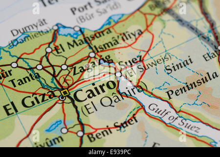 Close Up Map Of Cairo Capital City Of Egypt Stock Photo Royalty - Map of egypt with capital