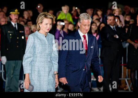 King Philippe of Belgium and Queen Mathilde of Belgium attend a First World War commemoration, in Ploegsteert, Belgium, - Stock Photo