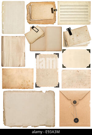 set of old paper sheet, bookpage, cardboard, envelope, photo frame with corner isolated on white background - Stock Photo