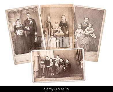 group of vintage family and wedding photos circa 1880-1900. nostalgic sentimental pictures on white background - Stock Photo