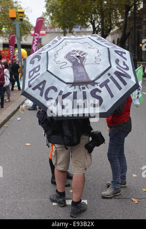 Victoria Embankment, London, UK. 18th October 2014. Members of various Trade Unions carry banners on their march - Stock Photo
