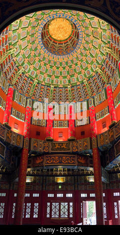 Vertical close up interior of Hall of Prayer for Good Harvests, Beijing China. - Stock Photo