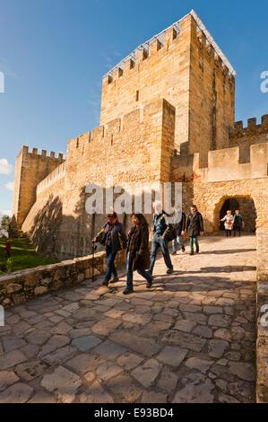 Vertical view of the front entrance of Castelo de Sao Jorge in Lisbon. - Stock Photo