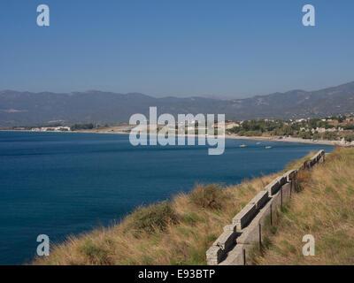 Panorama view of the infamous short runway of Samos international airport and Doryssa resort hotel, Greek island - Stock Photo