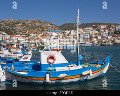 Fishing boats in the harbour of Pythagorion in Samos island Greece. Summer, sun, colours and idyllic summer impressions - Stock Photo