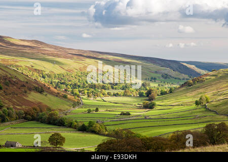 Autumn in limestone country looking down Littondale, Yorkshire Dales National Park, North Yorkshire, England, UK - Stock Photo