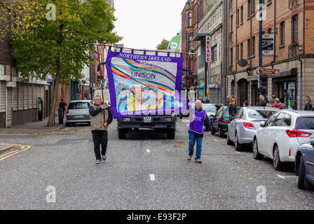 Belfast, Northern Ireland, UK, 18th October 2014. Hundreds gather in Writers' Square in a rally organised by the - Stock Photo