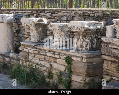 Heraion of Samos, large sanctuary to the goddess Hera, Samos Greece, an UNESCO World Heritage Site, column heads - Stock Photo
