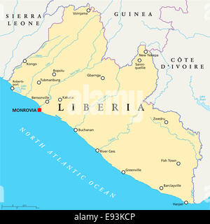 Liberia Political Map with capital Monrovia, national borders, important cities, rivers and lakes. English labeling - Stock Photo