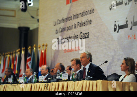Former British Prime Minister Tony Blair, now Quartet Representative for Middle East peace, addresses the Gaza Donors - Stock Photo
